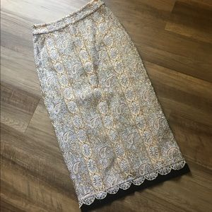 Topshop Embroidered Lace and Velvet Midi Skirt